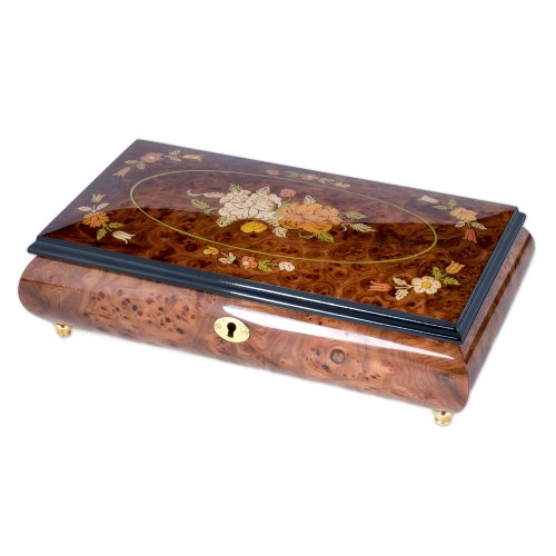 [Italian Hand Crafted Inlaid Natural Wood Musical Jewelry Box - Plays Somewhere In Time] (Inlaid Italian)