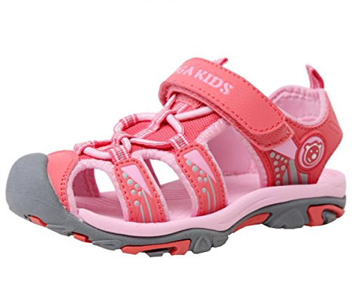 DADAWEN Boy's Girl's Outdoor Athletic Strap Breathable Closed-Toe Water Sandals (Toddler/Little Kid/Big Kid) Pink US Size 9 M Toddler