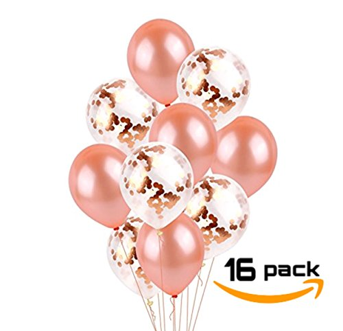 Rose Gold Balloons 18in Luxurious Confetti Balloons | 16pcs HIGH-Quality ✅ | Great for Rose Gold Parties, Party Supplies, Decorations, Engagement Parties, Prom, Baby Shower, Wedding, Bridal Shower -