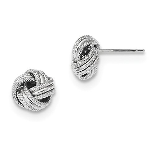 14K White Gold Polished Textured Triple Love Knot Post Earrings