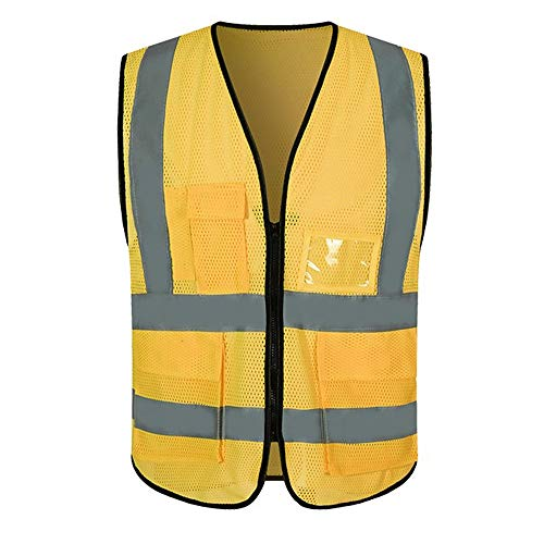 KODH Breathable Mesh Reflective Vest Site Construction Work Safety Protection Safety Reflective Vest (Color : Yellow) ()