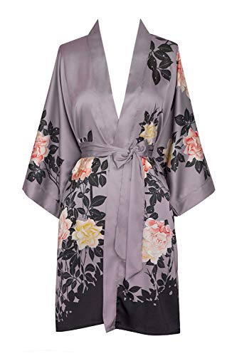 KIM+ONO Women's Kimono Robe Short - Watercolor Floral, blush rose-dusk