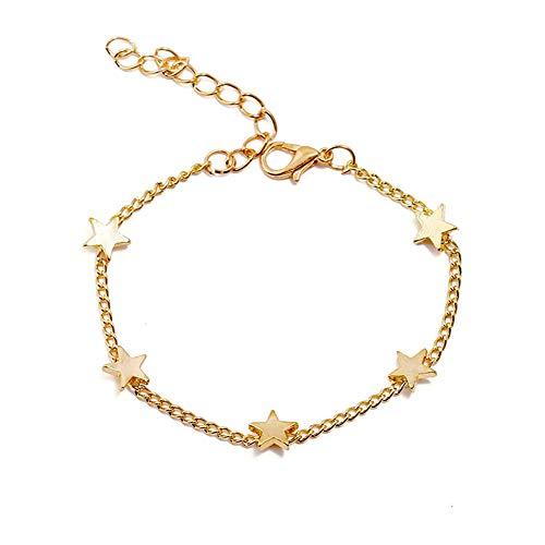 MIXIA Women Girls Bangle Simple Gold Filled Chic Heart Trendy Five Stars Fine Chain Bracelet Cuff Jewelry Party Love Bracelet (Star)