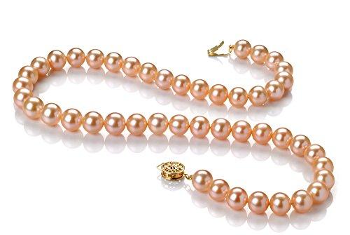 Rose 8-8.5mm AAA-qualité perles d'eau douce 585/1000 Or Jaune-Collier de perles