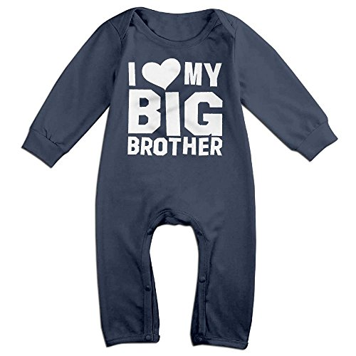 Baby Infant Romper I Love My Big Brother Long Sleeve Jumpsuit Costume Navy 18 Months