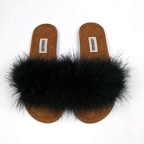 Femmes Sol Plates Luxe Mode Sandales Automne Peluche En Printemps Eté Intérieur Chaussures Accueil Noir Chaussons PBxEqx1