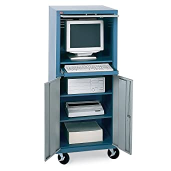 Captivating Edsal CSC6790 Steel Mobile Computer Cabinet With Shelf, Easy Assembly Type,  26u0026quot; W