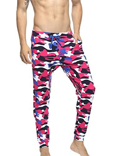 SEOBEAN Mens Cotton Thin Slim Fit Camouflage Jogging Trousers Pants (L(30-32