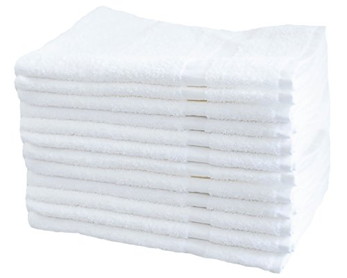 Cotton & Calm Exquisitely Soft Touch Hand Towels/Salon Towels (12 Pack, 16 x 27 inches), White Gym Towels- Crafted Home, Bath, Spa, Salon, Gym, Restaurant