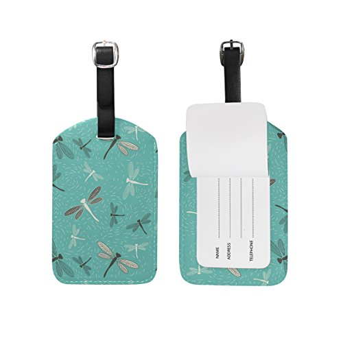 Dragonfly Christmas Gift Christmas Gift Leather Travel Luggage Baggage Handbag Tags Suitcase ID Labels(1Pcs) (Green Leather Dragon)