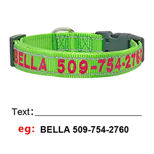 SOCHII Personalized Dog Collar Custom Embroidered Nylon Dog ID Tag Collars Reflective Pet Name Phone Collar for Small Medium Large Dogs Green S Custom Embroidered Nylon Jacket