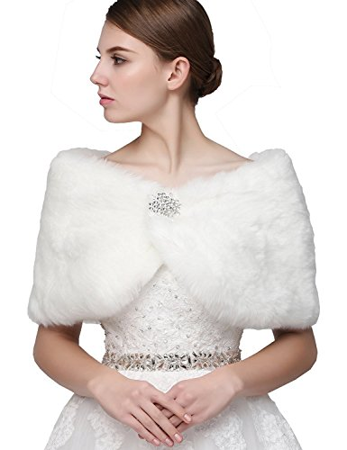 Sarahbridal Women's Faux Fur Wrap Cape Stole Shawl Bolero Jacket Coat Shrug for Winter Wedding Dress ()