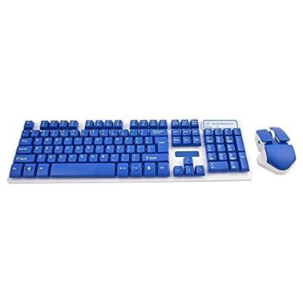 eDealMax suspendido teclado mecánico tacto 2.4G ratón inalámbrico Kit Azules Para ordenador