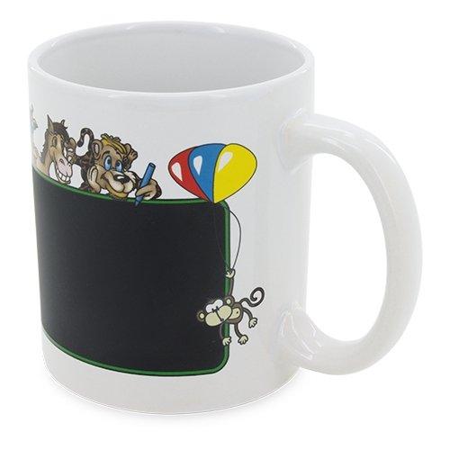 GARGOLA.ES DIGITALLE Tasse aus weißer Keramik mit lustigen Tieren und Tafel zum Bemalen. Inklusive weißer Kreide Packungen mit 18 Stück Maße  8 x 9,5 cm.