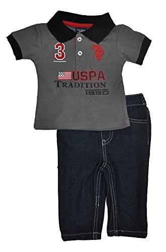 U.S. Polo Assn. Baby-Boys Newborn Multi Logo Pique Polo and Denim Jeans Set, Dark Grey, 3-6 Months Joker Jeans