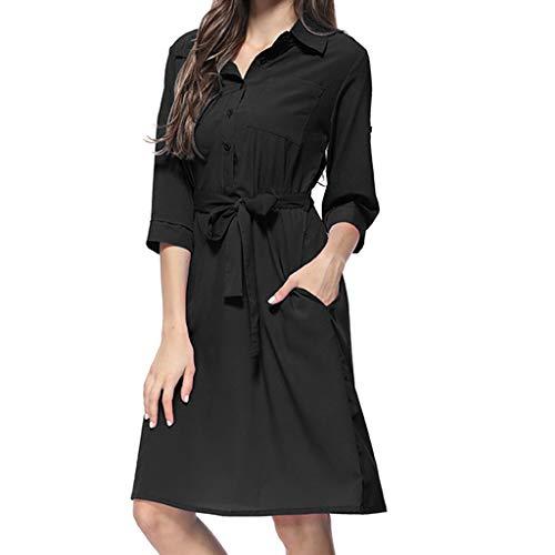 REXINTE Women V Neck Roll Tab Sleeve Dresses Tie Waist Shirt Dress Summer Button Down Gown Turndown Collar Tunic 2019 New(Black, ()