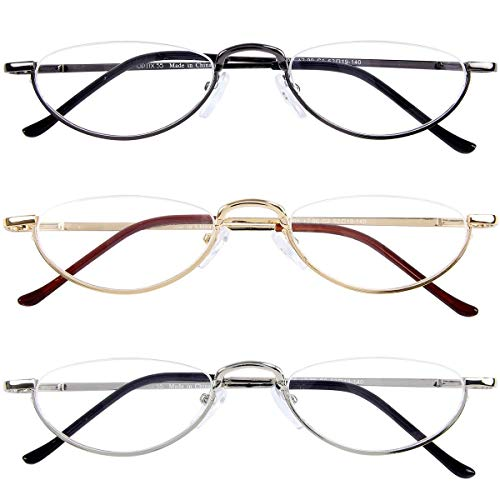 +100 Prescription Strength Reading Glasses 3 Pack, Compact Frames and Pouches