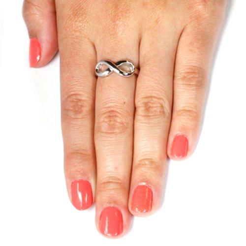 TIONEER Sterling Silver Believe Engraved Infinity Ring