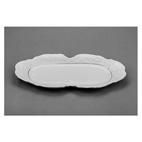 (Cmielow TPL13-X, 13-Inch Oval Platinum Band Dish, Porcelain Rectangular Serving Platter, Serving Tray, Set of 6)