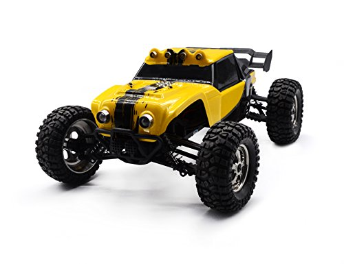 (HAIBOXING 1/12 Scale 4WD Waterproof RC Car,12891 4X4 Remote Control Off-Road Monster Truck, 2.4G 25+ MPH High Speed Electric Buggy with LED Lights-Yellow)
