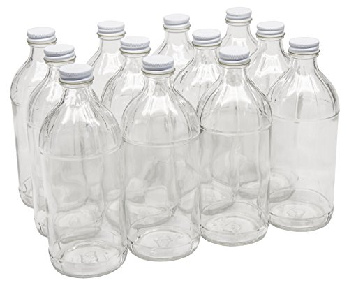 North Mountain Supply 16 Ounce Glass Vinegar Bottle 28 CT - With White Metal Lids - Case of 12