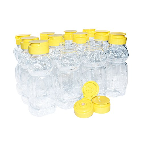 (12 Pack) 12 oz. Plastic Honey Bear with Yellow Silicone Flat Cap (38/400) (Honey Bottles)