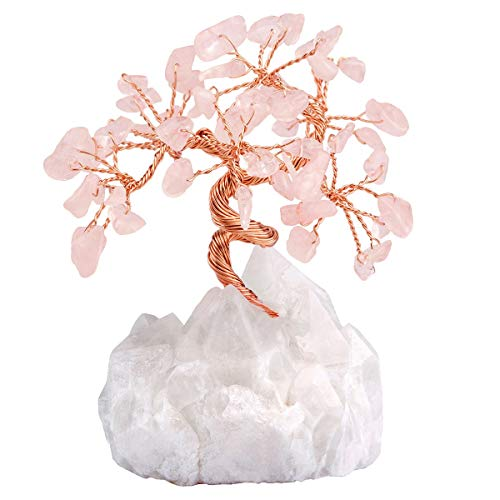- SUNYIK Amethyst Crystal Money Tree on Natural Rock Quartz, Handmade Tumble Chip Stone Bonsai Sculpture Figurine Decoration for Wealth and Luck Size 2.7-4.5 inch