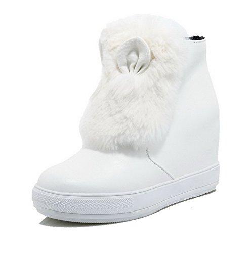 AllhqFashion Damen Hoher Absatz Rein Rund Zehe Ziehen auf Stiefel Weiß