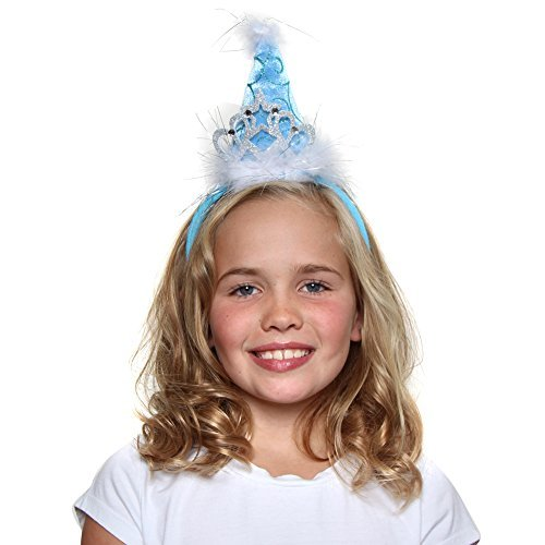 Blue Cone Party Hats (Girls Princess Tiara Cone Hat Headband, Blue)