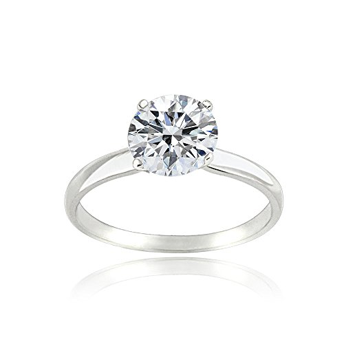 Bria Lou Platinum Flashed 925 Sterling Silver 100 Facets Cubic Zirconia Round-Cut Solitaire Ring, Sizes 6, 7, 8