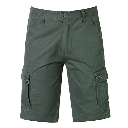 Willsa Men Shorts Casual Pure Color Outdoors Pocket Beach Work Trouser Cargo Shorts Pant by Willsa
