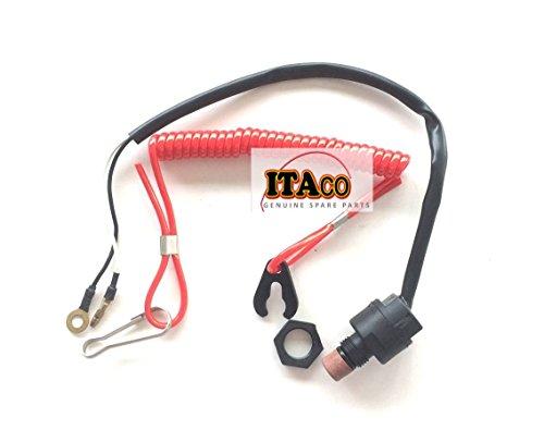ITACO Boat Motor Engine Kill Stop Switch & Safety Lanyard 6E9-82575-09 For Yamaha / Honda / Tohatsu Outboard Motors (Honda Outboard Engines)
