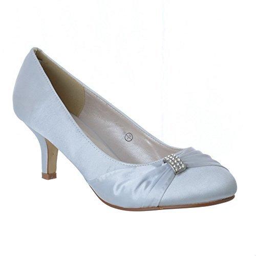 Strass Satin Femmes Basse De Pour Chaussures De Mariage Argent Talon Bal Sandales Dames Mariée Taille Classique anR0SZ