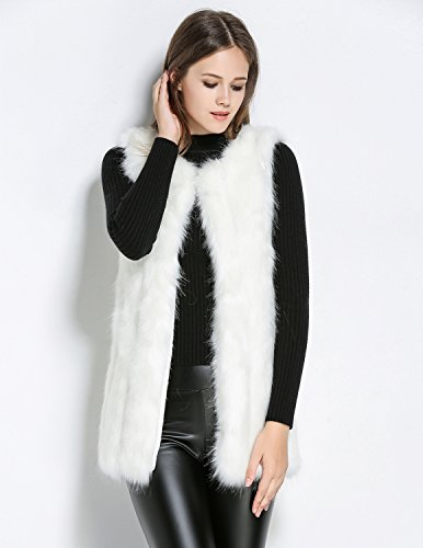 Parka Trench Fourrure Vest Fausse Carinacoco Pour Automne Coat Manches Blanc Sans Manteau Mi Femmes En longue Gilet Hiver nxgSO