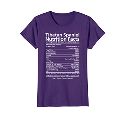 Womens Tibetan Spaniel Shirt | Funny Nutrition Facts T-Shirt Small Purple