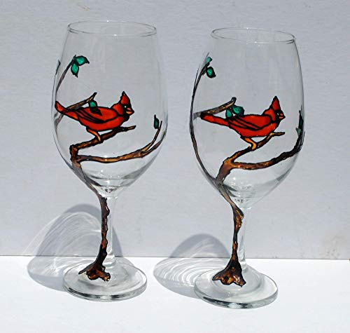 Symbol Glass Candle Holder - 2 Red Cardinal Bird in a Tree Hand Painted Wine Glasses Set