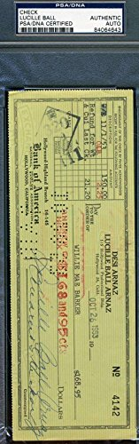 LUCILLE BALL ARNAZ LUCY Hand Signed 1953 CHECK Autograph Authentic - PSA/DNA - Ball Lucille Autographs