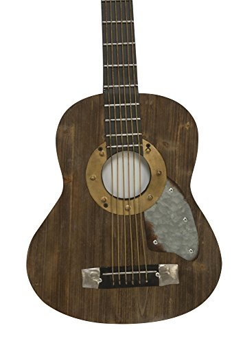 Rustic Inspired Decorative Acoustic Guitar Wall Art, Wood & Metal Wall Hanging Centerpiece Sculpture, 36