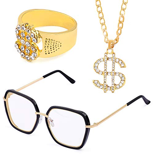 Beelittle 80s 90s Hip Hop Rapper Gangster Costume Kit - Retro Glasses Gold Chain Necklace Gold Plated Hip Hop Ring Accessories Kit (B)]()