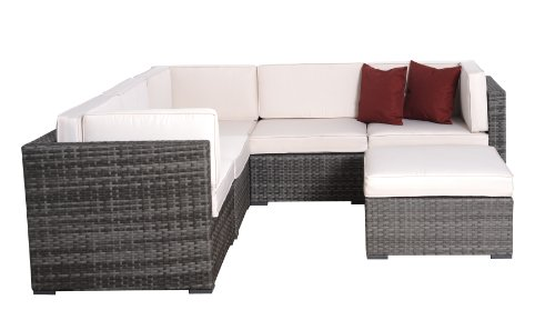 (Atlantic Bellagio Grey Wicker Seating Set with Off-White Cushions, 6-Piece )