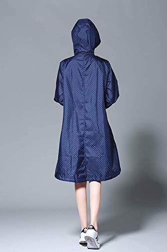 Pour Unie Bolawoo Blue Capuche Manteau À Dot Mode Femme Imperméable Deep Couleur Chic qrUrxtz