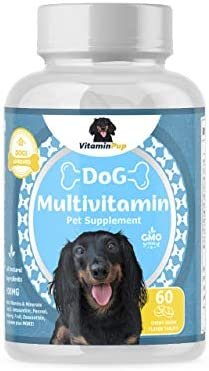 VitaminPup Dog Daily Multivitamin and Mineral Supplement Vitamin E, B Complex, CoQ10, Zinc, Calcium, Magnesium, Potassium Natural Wellness, Antioxidant Support, Bone and Coat 60 Chewable Tablets