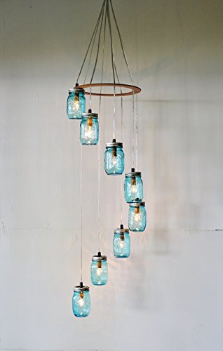 Large Spiral Mason Jar Chandelier With 8 Blue Jars by BootsNGus