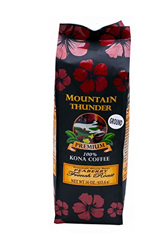100% Kona Coffee - Peaberry - Reason - French Roast - 16 Ounce Bag - by Mountain Thunder Coffee Plantation