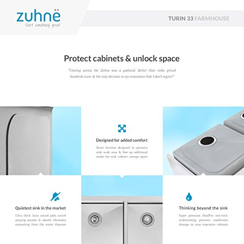 Zuhne 33 Inch Farmhouse Apron 60/40 Deep Double Bowl 16 Gauge Stainless Steel Luxury Kitchen Sink by Zuhne (Image #5)