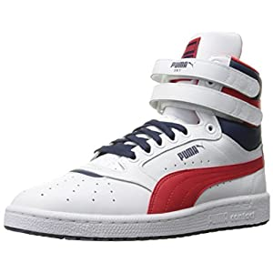 PUMA Men's Sky II Hi FG Basketball Shoe, White/High Risk, 8 M US