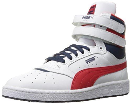 PUMA Men's Sky Ii Hi Fg Basketball Shoe, Puma White/High Risk PUMA