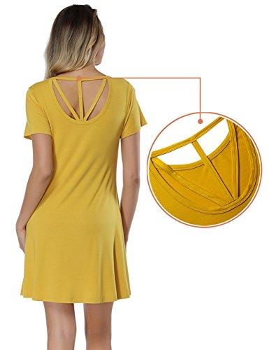 Plain BOHISEN Women's Shirt Dress Casual Criss Cross Sleeve Short Ginger T Back ppEgxr6wq
