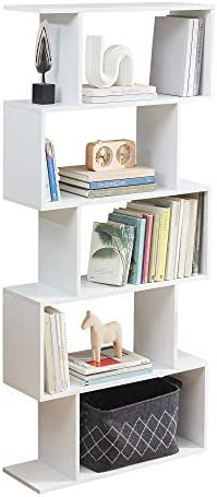 Sunon 5-Tier Bookshelf Free Standing Wood Bookcase