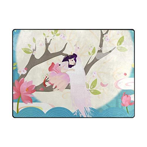 - S Husky Indoor Decorative Area Cute Girl Pink Peacock Forest Full Moon Blooming Lotus Aesthetic Fantasy Rug Garden Office Bedroom Floor Mat, Non Slip, Rugs for Kitchen, Bath 63 x 48 in 2041037